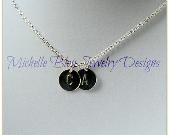 Custom Initial Charm necklace ~ Silver Initial Necklace