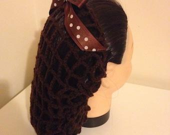 Brown crochet vintage style snood