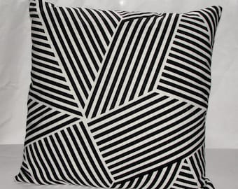 "Designer Nate Berkus Throw Pillow Cover 18""x18"" Black And White Brush Stripes"