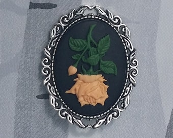 Peach Rose Cameo Brooch Pin Badge Handmade Gothic Emo Steampunk