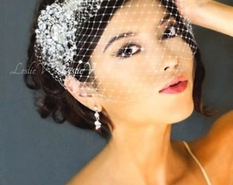 Leslie Li Grace Style Crystal Bridal Birdcage Veil with Crystal Brooch 27-30738
