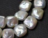 Freshwater Pearls Square pearl Natural White loose pearl 12.5-13.5mm 26Pcs Full Strand Item No : PL4039