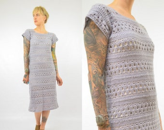 70s Crochet Bohemian Grey Hand Knit Festival Maxi Dress