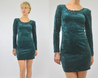 SALE 90s Bodycon Forest Green Velvet Fitted Party Dress