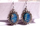 Fancy Victorian Style Blue Opal Earrings - Journey To The Center Of The Earth