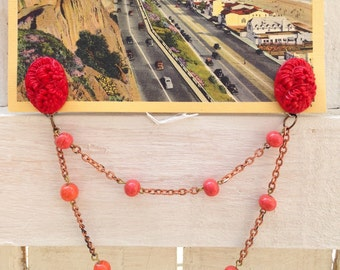 Sweater Chain or Collar Clip- Tomato Red Floral and Peach Beads  - Vintage and New Findings