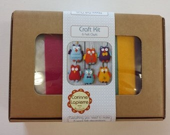 Felt Owl Decoration Craft Kit - Make Your Own x 6 Hanging Owls - Wool Felt Sewing - Beginners Sewing Gift