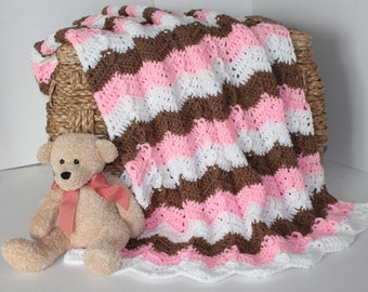 Baby Chevron Blanket - Small Pink Throw - Pink Brown White - Ripple Afghan - Christmas in July SALE - 20 % off until July 31st