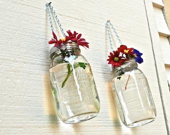 SALE!! Set of 2 Hanging Mason Jar Vases with Silver Chains, Mason Jar Lanterns, Hanging Mason Jar Votives, Hanging Mason Jar Candle Holders