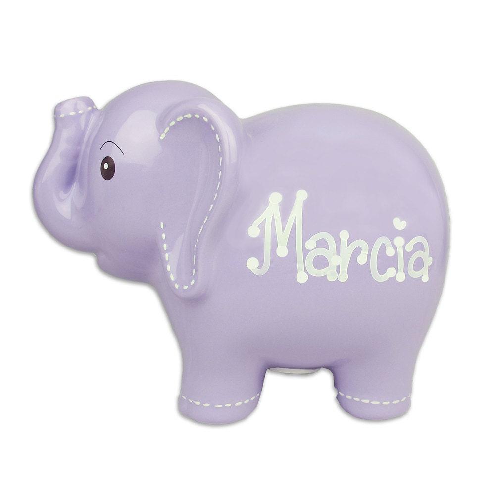 Lavender elephant bank personalized ceramic elephant bank - Ceramic elephant piggy bank ...