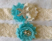 Beach Garter Set - Starfish Aqua and Ivory - Beach Wedding - Tropical, Seaside, Beach Bride- A Bijoux Bridal Chicago Signature Design