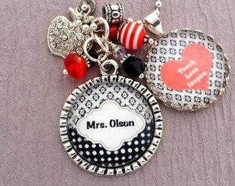Personalized Teacher Gift, Teacher Appreciation Necklace or Keychain, Rhinestone Apple, End of Year Gift, Teach Love Inspire