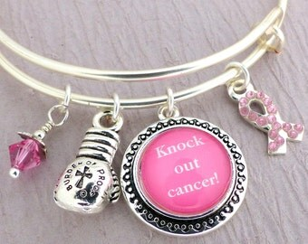Breast Cancer Bracelet Breast Cancer Bangle Adjustable Pink Bangle Bracelet Knock Out Cancer Adjustable Snagless Charm Bangle