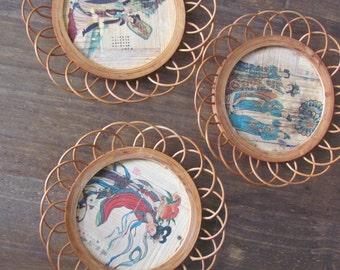 3 Vintage Geisha Coasters Hand Painted On Bamboo