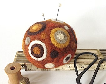 Wool pin cushion, needle felted pincushion for quilters and sewers