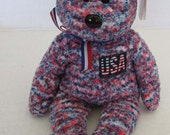 TY Beanie Baby USA the Bear Exclusive Retired Patriotic USA Flag Teddy Bear