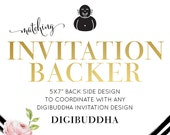"""INVITATION BACKER Back Side Design Made to Match any digibuddha Invitation design 5x7"""" Solid Color, Matching Pattern, Photo or Custom Text"""