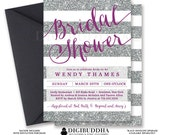 SILVER & PURPLE BRIDAL Shower Invitation Stripes Printable Invite Plum Silver Glitter Modern Wedding Free Priority Shipping or DiY- Wendy