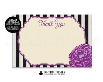 BLACK & WHITE STRIPES Thank You Cards Plum Purple Bloom Flower Printed 4x6 Flat Printed Rustic Classic Boho Chic Bridal Shower- Madison