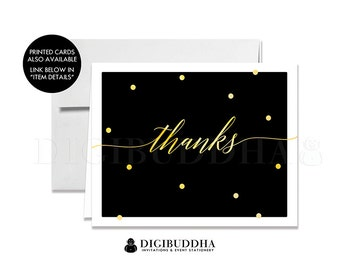 Black & Gold THANK YOU CARD Instant Download Calligraphy Gold Foil Dots Folded A2 Note Card Wedding Bridal Shower Graduation Notecard - Casy