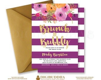 BRUNCH & BUBBLY INVITATION Bridal Shower Invite Purple Stripes Gold Glitter Plum Gold Flower Free Priority Shipping or DiY Printable- Mady