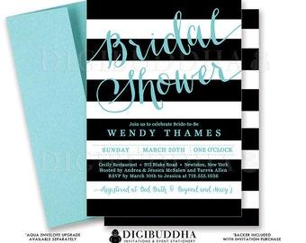 BLACK & AQUA BRIDAL Shower Invitation Black and White Stripes Printable Turquoise Invite Modern Wedding Free Priority Shipping or DiY- Wendy