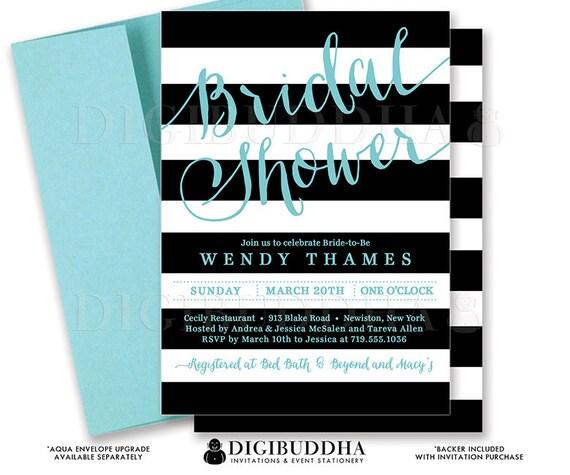 Black aqua bridal shower invitation black and white stripes il570xn filmwisefo Gallery