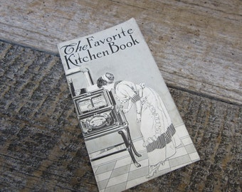 RARE Paper Advertisement Book Favorite Stoves Range Piqua Ohio Cast Iron Skillets Cookware  Vintage Cookbook Advertising Recipes