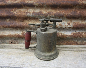 Blow Torch Antique Industrial RED Wood Handle Steam Punk Steampunk Gothic Time Travel Machinery Steam Punk Old Vintage Tools Early 1900s vtg