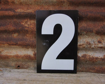 Number Sign Metal Vintage 1 or Number 2 Double Sided Large 11 1/2 x 7 1/2  Inches One Two White Black vtg Gas Price Sign Service Station
