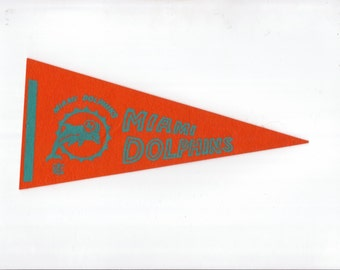 Vintage Miami Dolphins Football Team Early 1970s Era NFL Small Mini Felt Pennant Banner Flag vtg Collectible Vintage Display Sports