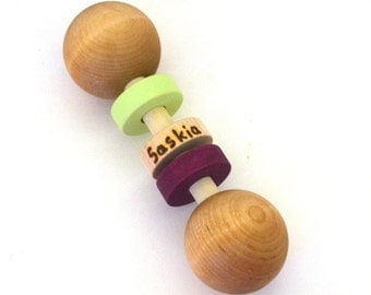 Personalized Baby Toy - Eco Friendly Wooden Baby Rattle - Choose Colors