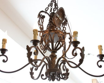 Elaborate Elongated Vintage Iron Light Fixture Chandelier with Brass Acanthus Detail and Handmade Chain