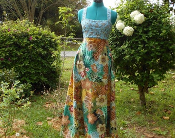 Blue Tigris Floral Hippie Corset Back Festival Dress  #287