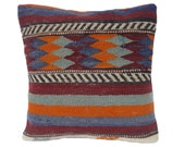 Vintage Hand-Woven Kilim Wool Pillow Cover k129