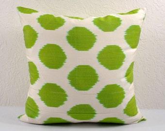 Green Polka Dot Ikat Pillow Cover, Ikat Pillow, Ikat Pillow Cover, npi315, Ikat throw pillows, Designer pillows, Decorative pillows