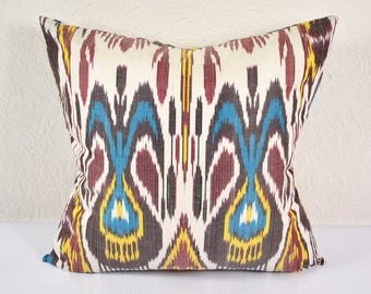 Ikat Pillow, Hand Woven Ikat Pillow Cover  a472-1aa3, Ikat throw pillows, Designer pillows, Ikat Pillow, Decorative pillows, Accent pillows