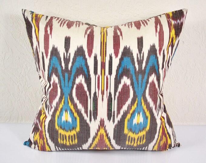 Ikat Pillow, Hand Woven Ikat Pillow Cover  a472-1aa3, Ikat throw pillows, Designer pillows, Ikat Pillow, Decorative pillows, Accent pillows