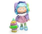 Plum Puddin Doll Party Pleaser Vintage Strawberry Shortcake & Elderberry Owl Pet - with Flaws, Read Description
