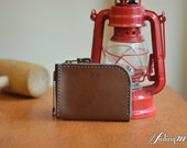 Leather Personalized Zipper Coin Bag