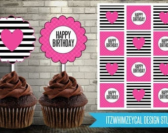 Girly Fancy Heart Striped Birthday Cupcake Topper Instant Download Printable