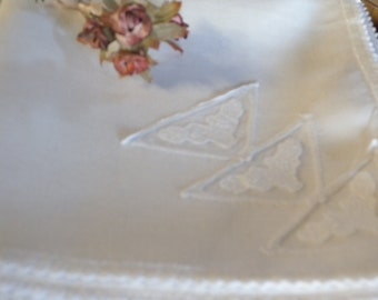 Vintage White Linen Card Cloth with Beautiful Scalloped Lace Trim Border and Lace Inserts at One Edge.