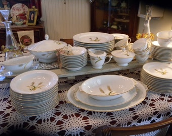 Vintage 84 Piece ~  SANGO Japan Fine China Dinnerware Set in PRAIRIE GOLD Wheat pattern Circa 1960s
