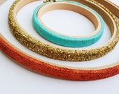 Glitter embroidery hoops / hoop art / for your DIY embroidery project / Copper glitter / ice blue glitter / black glitter