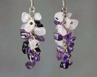 Amethyst Rose quartz dangling chandelier earrings Bridesmaid gifts Free US Shipping handmade Anni designs