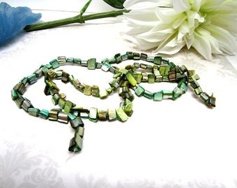 "Beads Mother of Pearl Chips Green 16"" Strand"