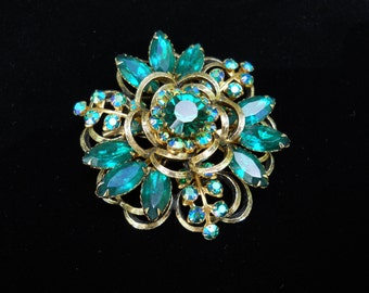 Selini Brooch Pin Emerald Green & AB Rhinesone Vintage Signed