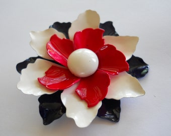 Enamel Flower Brooch Pin, Red, White & Blue Enamel, Vintage