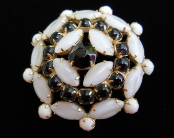 Black and White Brooch, White Moonglow Stones and Black and White Milk Glass Brooch Pin Vintage