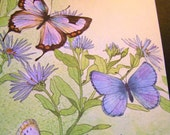 """RESERVED4SALE  Vintage 80's  """"CURRENT - Just a Notes"""" Cards in  Butterfly Designs Tri-Fold Style."""